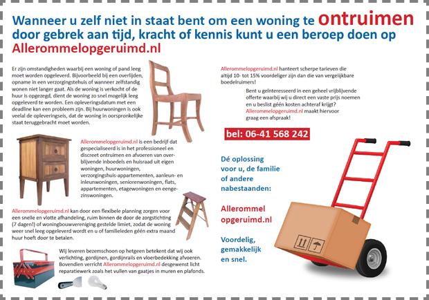 Wanneer u zelf niet in staat bent om een woning te ontruimen door gebrek aan tijd, kracht of kennis kunt u een beroep doen op Allerommelopgeruimd.nl